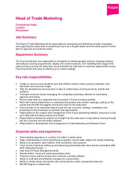 Free Download PDF Books, Head of Trade Marketing Job Description Template