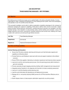 Free Download PDF Books, Simple Trade Marketing Job Description Template