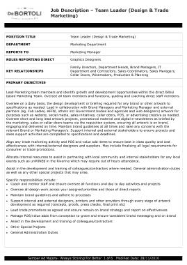 Free Download PDF Books, Team Leader Trade Marketing Job Description Template
