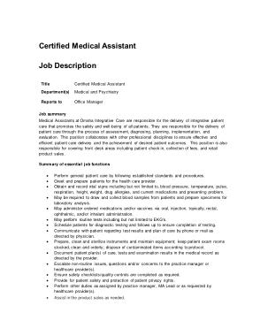 Free Download PDF Books, Certified Medical Assistant Job Description