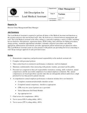 Free Download PDF Books, Lead Medical Assistant Job Description