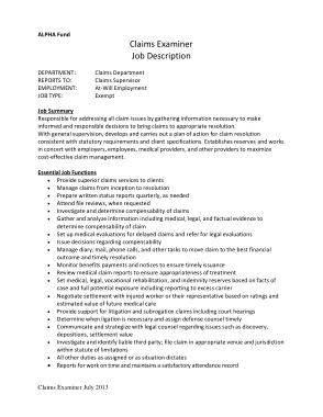 Free Download PDF Books, Medical Claim Examiner Job Description Example
