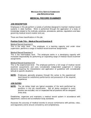 Free Download PDF Books, Medical Records Examiner Job Description