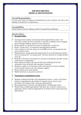 Free Download PDF Books, Medical Receptionist Job Description
