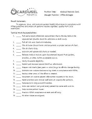 Free Download PDF Books, Medical Records Clerk Job Description Example