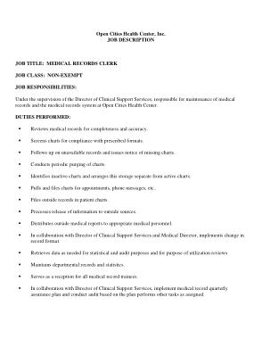 Free Download PDF Books, Medical Records Clerk Job Description Responsibilities