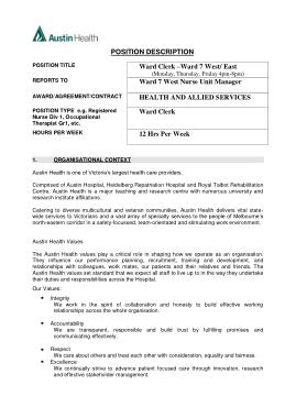 Free Download PDF Books, Medical Records Ward Clerk Job Description PDF