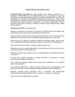 Free Download PDF Books, Senior Medical Records Clerk Job Description Format
