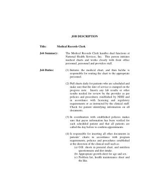 Free Download PDF Books, Medical Health Records Job Description PDF