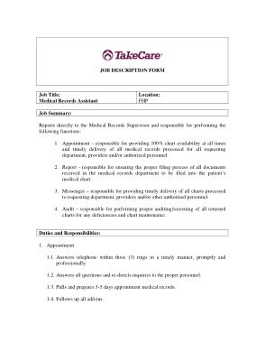Free Download PDF Books, Medical Records Assistant Job Description