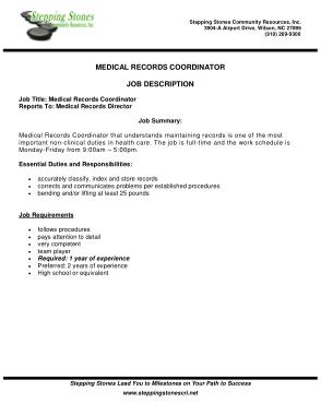 Free Download PDF Books, Medical Records Coordinator Job Description