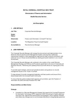 Free Download PDF Books, Hospital Medical Records Manager Job Description