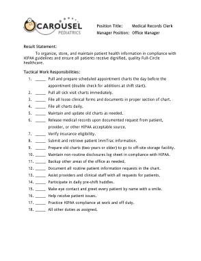 Free Download PDF Books, Medical Records Clerk Office Manager Job Description