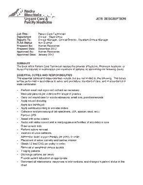 Free Download PDF Books, Back Office Patient Care Technician Job Description