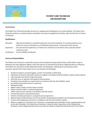 Free Download PDF Books, Certified Patient Care Technician Job Description