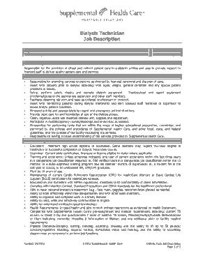 Free Download PDF Books, Dialysis Patient Care Technician Job Description Sample