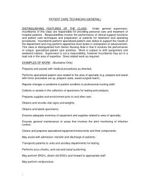 Free Download PDF Books, General Patient Care Technician Job Description Example