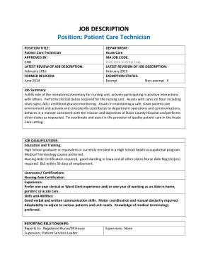 Free Download PDF Books, Patient Care Technician Job Description Summary