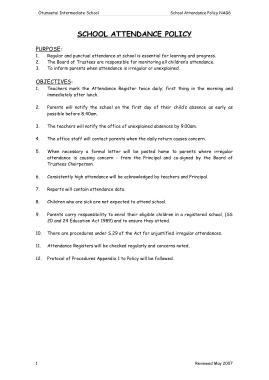 Intermediate School Attendance Policy Template