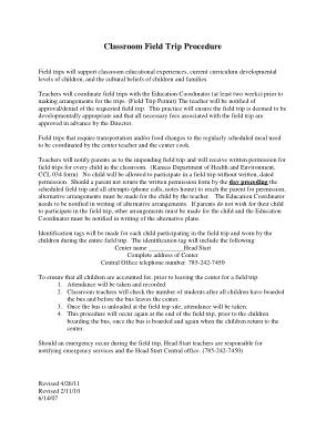 Free Download PDF Books, Classroom Field Trip Procedure Format Template