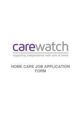Carewatch Home Care Job Application Form Template