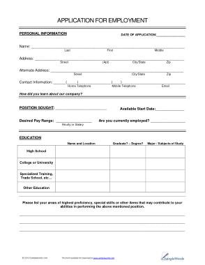 Free Download PDF Books, Job Application Form Sample Template