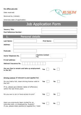 Standard Job Application Form Printable Template