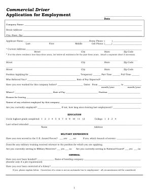 Driver Employment Application Template