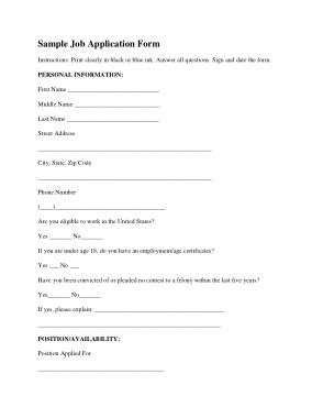 Editable Employment Application Form Sample Template