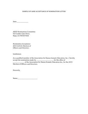 Nomination Acceptance Letter Template