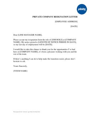 Private Company Resignation Letter Template