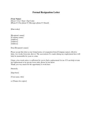 Resignation Formal Letter Format Template