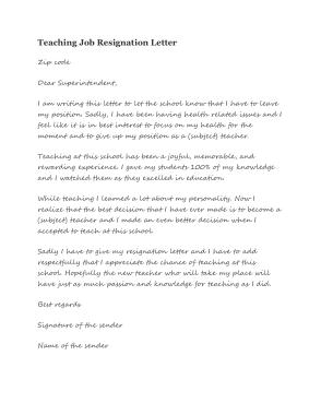 Teaching Job Resignation Letter Template
