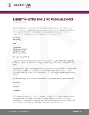 Tender Resignation Notice Letter Template