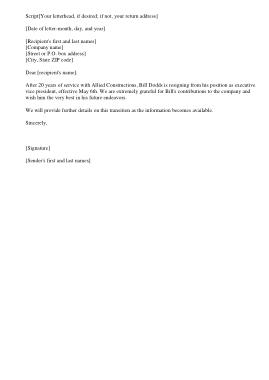 Free Download PDF Books, CEO Resignation Announcement Letter Template