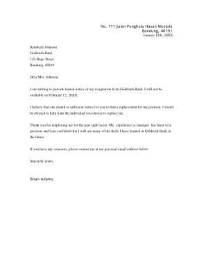 Formal Bank Manager Resignation Letter Template