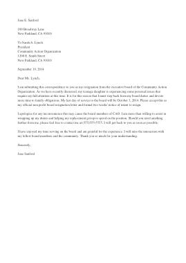 Non Profit Board of Director Resignation Letter Template