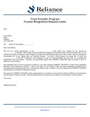 Trustee Resignation Request Letter Template