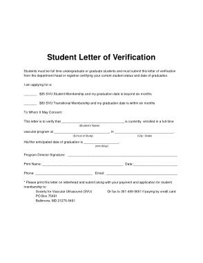 Student Verification Letter Template