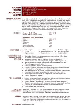Free Printable Junior Accountant Resume Template