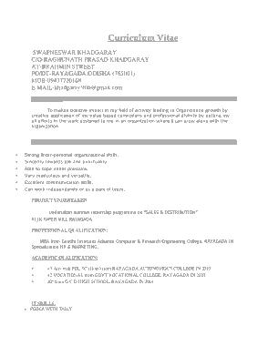 MBA Marketing Fresher Resume Template
