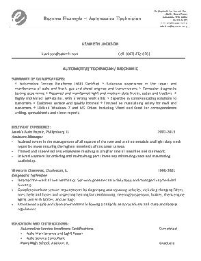 Free Download PDF Books, Automotive Mechanic Resume Template