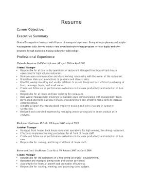 Restaurant General Resume Template