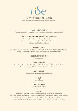 Free Download PDF Books, Buffet Dinner Menu Sample Template