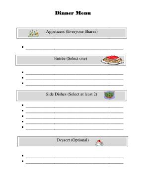 Free Download PDF Books, Dinner Menu Sample Template