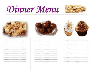 Free Download PDF Books, Dinner Menu Template