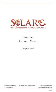Free Download PDF Books, Summer Dinner Menu Template