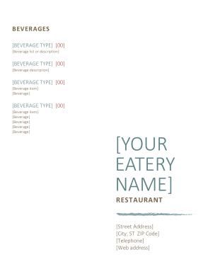 Free Download PDF Books, BEVERAGES Menu Template