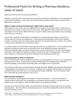 Pharmacy Residency Letter of Intent Template