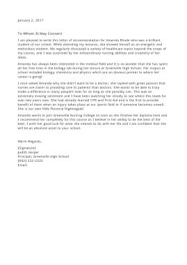 School Nurse Recommendation Letter Template